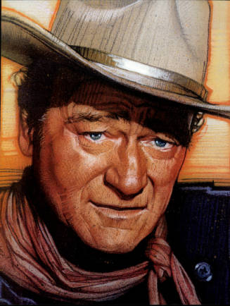 John Wayne illustration on a postage stamp