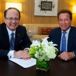 The USC Schwarzenegger Institute will boast a bipartisan advisory board that includes international leaders in business, public service and education. Pictured here, President C. L. Max Nikias with former Gov. Arnold Schwarzenegger (Photo/Dietmar Quistorf)