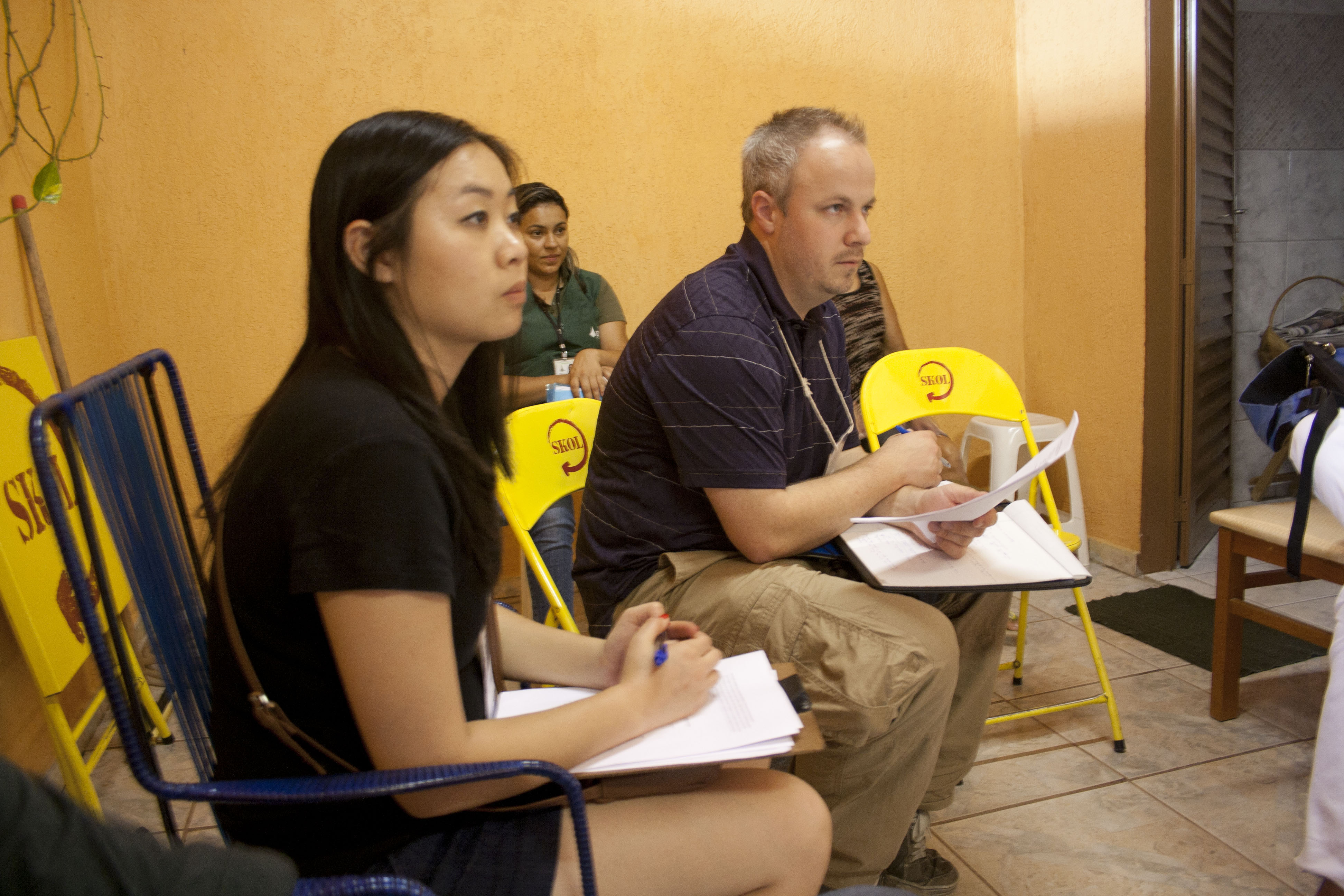 MSW student Evelina Giang, left, and USC MBA student Brian Slade in Brazil