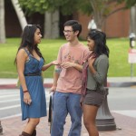 Students interact on the USC campus.
