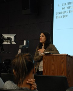 Ferrera speaks to professor Steven Lamy's international relations class.
