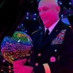 Army Chief of Staff Gen. Ray Odierno in ICT's Light Stage X, an LED-filled sphere used for capturing data to create believable digital faces (Photo/Jennifer Wohlner)