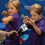 Max Page, right, with his brother, Els, at a Children's Hospital Los Angeles press conference (Photo/Alex Vas)