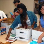 Books collected by USC Dornsife students for Japan libraries.