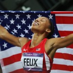 Allyson Felix takes her first-ever individual gold medal in the women's 200-meter race at the 2012 London Olympics. (Photo/Ezra Shaw, Getty Images)