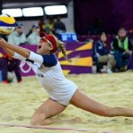 April Ross digs in during the quarterfinals of a beach volleyball match against the Czech Republic. (Photo/Kyle Terada, USA Today)