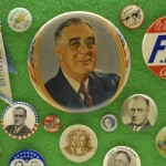 Original campaign buttons from presidential candidates are on display at the Ronald Tutor Campus Center. (Photo/Nathan Carter)
