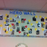 "A ""hero wall"" placed in one of the schools participating in the Building Capacity in Military-Connected Schools project (Photo/Courtesy of USC School of Social Work)"
