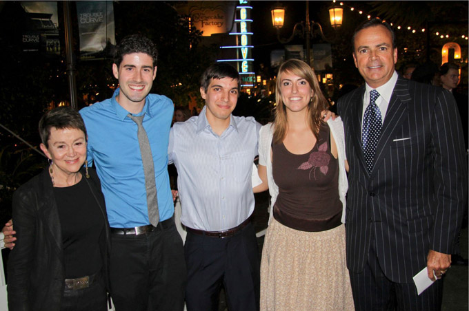 From left, USC School of Cinematic Arts Dean Elizabeth M. Daley, students Andy Dulman, Tarek Tohme and Vanessa Pantley with Rick Caruso (Courtesy of USC School of Cinematic Arts)