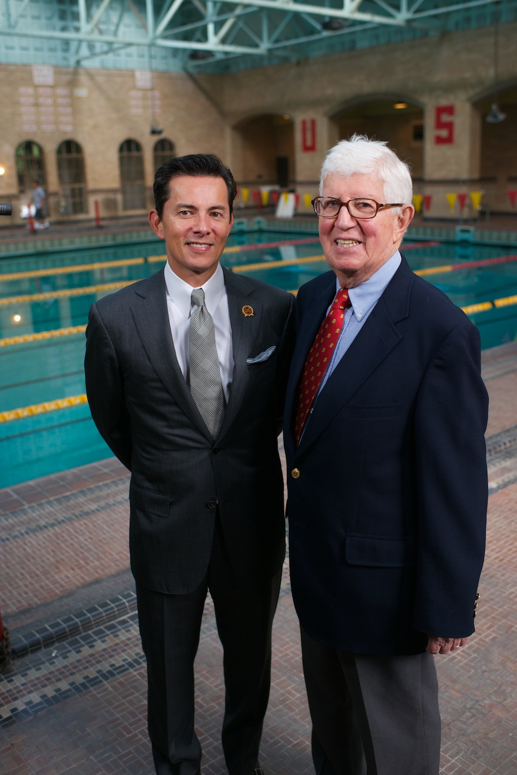 "The USC Athletic Department celebrated the groundbreaking of the Uytengsu Aquatics Center on Nov. 2., a new facility for the Trojan swimming, diving and water polo teams. Pictured here: Wilfred ""Fred"" Uytengsu and Coach Peter Daland (Photo/Dietmar Quistorf)"
