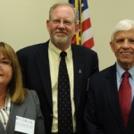 From left, Maria Aranda with Dan Blazer, chair of the Institute of Medicine committee, and committee member Michael Hoge (Photo/Courtesy of USC School of Social Work)