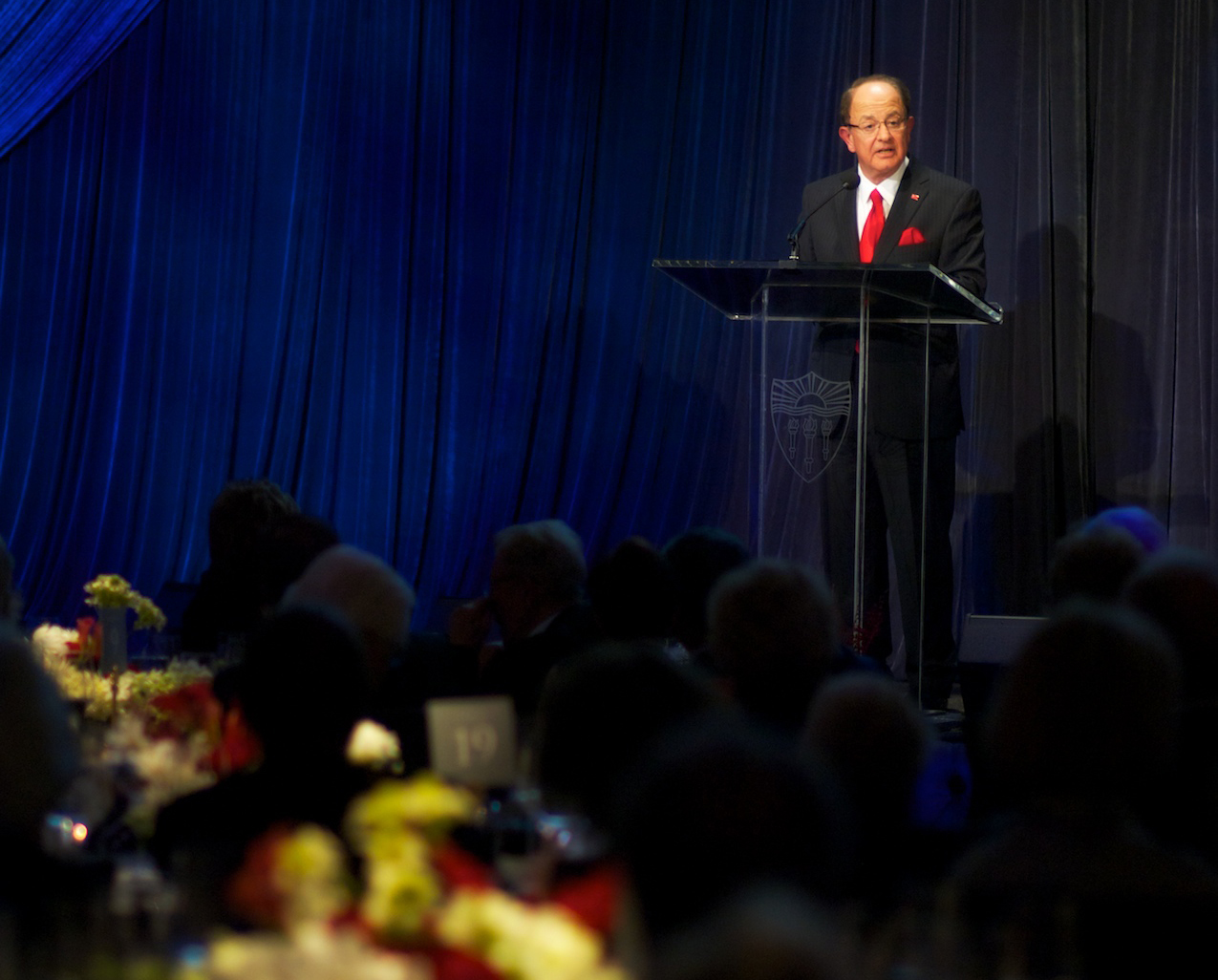 USC President C. L. Max Nikias reflected on Judge Widney's role as the chief architect of the university during his speech at the Widney Society gala on Nov. 1. (Photo/Dietmar Quistorf)