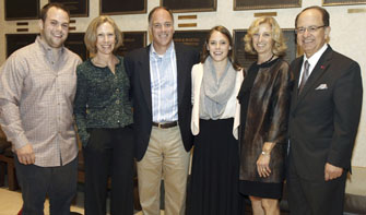 From left, Andrew Kortschak, Marcia Kortschak, Walter Kortschak, Sarah Kortschak, Niki C. Nikias and USC President C. L. Max Nikias (Photo/Steve Cohn Photography)