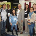 George Sanchez, center, USC Dornsife's vice dean for diversity, stands with past and present USC Dornsife students at a recent Society for Advancement of Chicanos and Native Americans in Science conference in Seattle. (Photo/Courtesy of Yadira Ibarra)