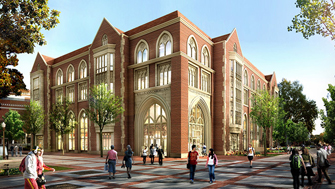 Wallis Annenberg Hall, a new five-floor building, is scheduled to open in fall 2014. (Photo/Courtesy of USC Annenberg)