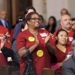 Hundreds of community members gather at City Hall to lend their support for the USC Village project. (Photo/Gus Ruelas)