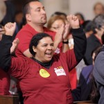 Local residents celebrate new jobs destined for the neighborhood around USC. (Photo/Gus Ruelas)