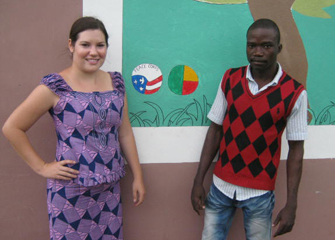 Brittany Berns, with fellow teacher Sabi Yoto, helped to expand a small secondary school as a Peace Corps volunteer in Africa.