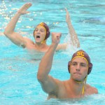 USC Dornsife senior Michael Rosenthal, foreground, at the NCAA men's water polo championship game (Photo/Dan Avila)