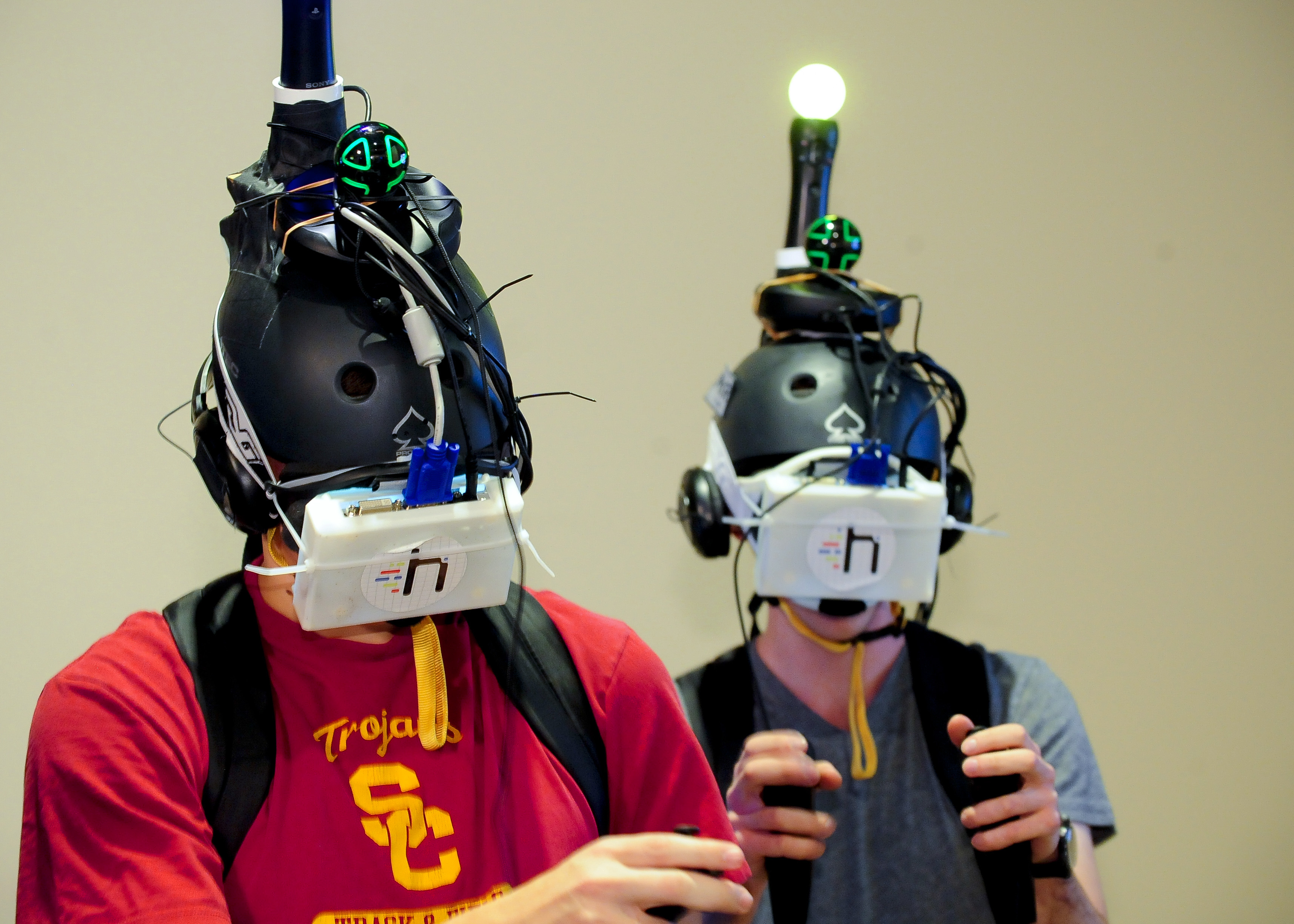 "USC students try out Project Holodeck, an immersive 360-degree virtual reality program during ""GLIMPSE"" A Digital Technology Showcase."" (Photo/Gus Ruelas)"