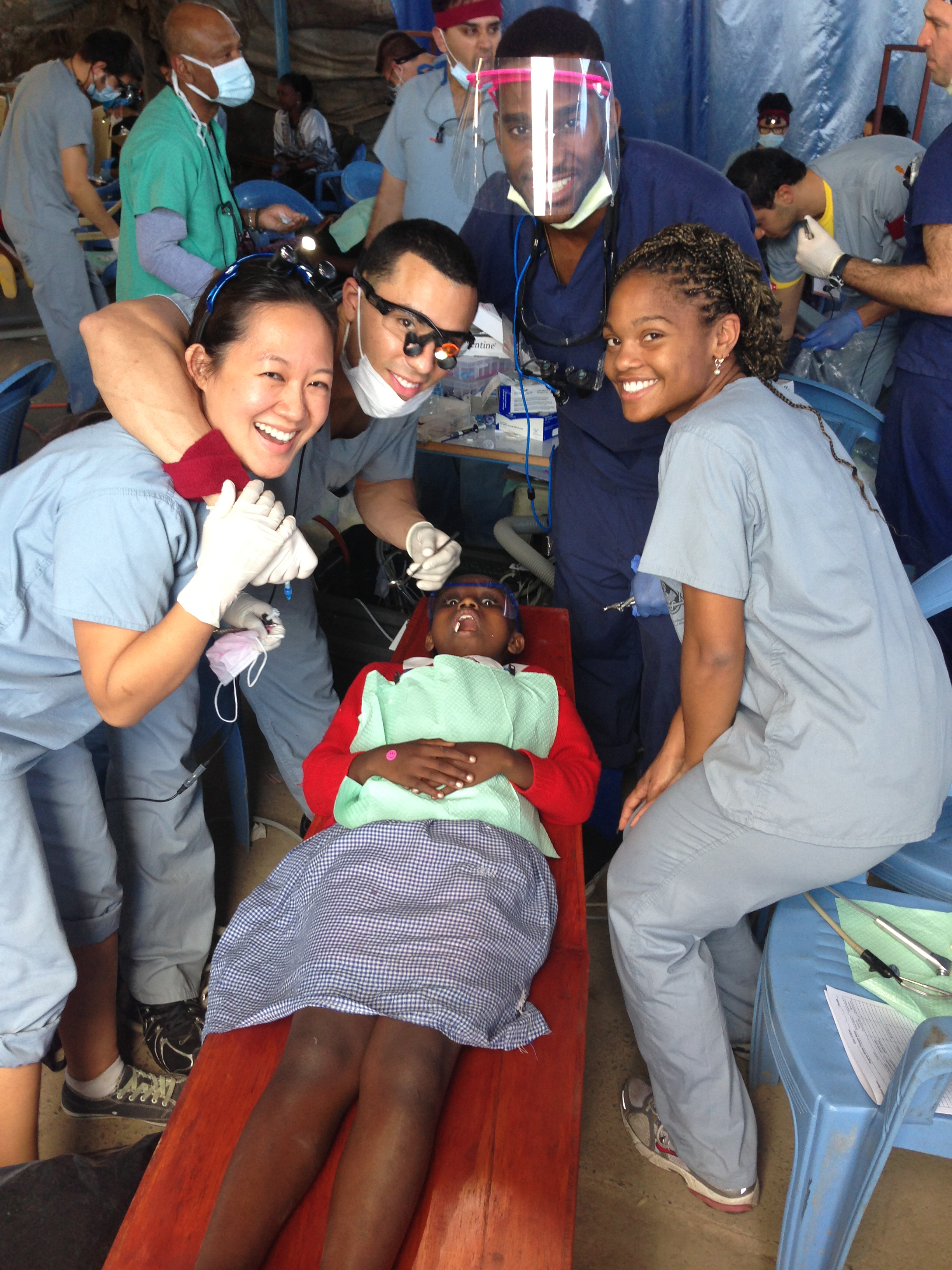From left, USC dental students Lyndsey Wang, Jose Soto, Kunle Ajanaku and Courtney Clayton in Kenya (Photos/Sean Vreeburg)