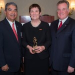 From left, Rudy Castruita, USC Rossier Dean Karen Symms Gallagher and Greg Franklin '83, EdD '97, chair of the Dean's Superintendents Advisory Group (Photo/Ben Kaatz)
