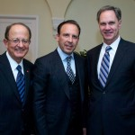 From left, USC President C. L. Max Nikias, David Dollinger and USC Price Dean Jack H. Knott (Photo/Dietmar Quistorf)