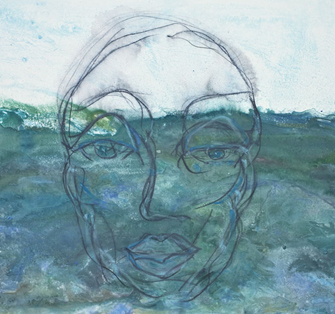 """Head Above Water,"" mixed media by Orna Makleff"