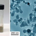 On the left, a vial of the silicon nanoparticles; on the right, silicon nanoparticles viewed under magnification (Photos/Mingyuan Ge and Chongwu Zhou)