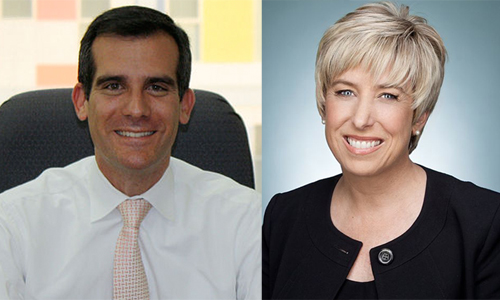 Eric Garcetti and Wendy Greuel appear to be leading the mayoral race with 27 percent and 25 percent of voters, respectively, according to a new USC Price/LA Times Los Angeles City Primary Poll.