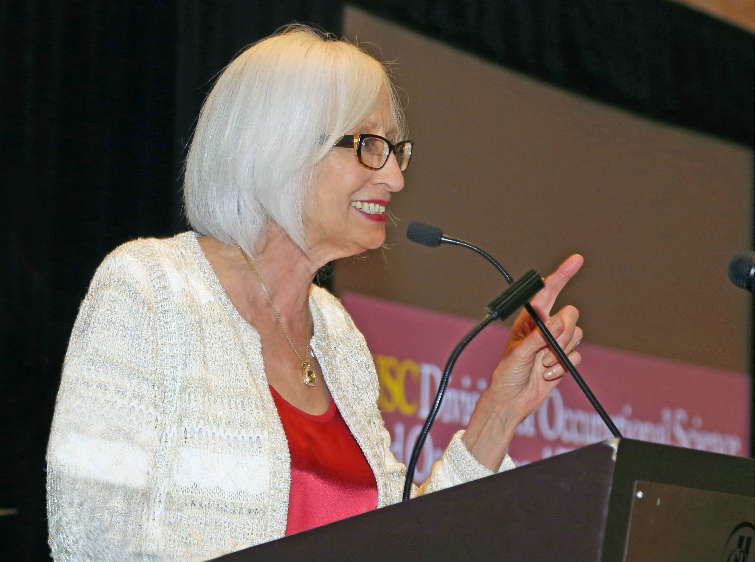 Associate dean Florence Clark makes the announcement in San Diego. (Photo/Glenn Marzano)