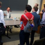 David Dollinger interacts with USC Price MRED students at Lewis Hall. (USC Photo/Dietmar Quistorf)
