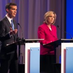 Eric Garcetti and Wendy Greuel take part in the LA mayoral debate at USC. (USC Photo/Tom Queally)
