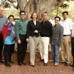 Professor Steven Anderson, Susana Ruiz, Saber Naserifar, Assistant Dean Meredith Drake Reitan, Professor Anthony Dukes, Yi Zhu, Harshvardhan Vathsangam and Professor Gaurav Sukhatme. Not pictured: award winners Julia Staffel and Martin Hilbert (USC Photo/Steve Cohn)