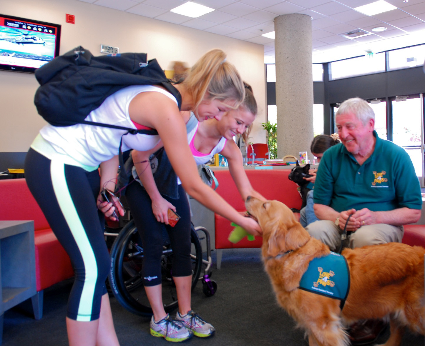 "Maddie the therapy dog comforts students during a ""ruff"" time of the academic year. (USC Photo/Lillian Insalata)"