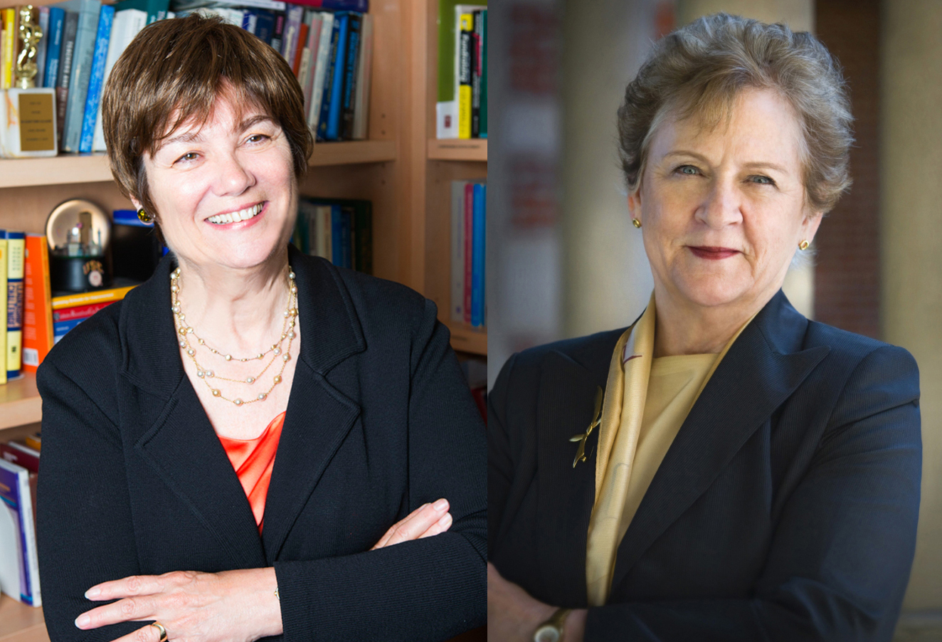Karen Symms Gallagher and Marilyn L. Flynn were recognized at the annual Academic Honors Convocation.