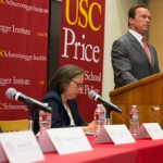 Former Gov. Arnold Schwarzenegger addresses the audience at the climate change forum at USC. (USC Photo/Tom Queally)