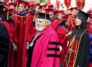 University Professor Solomon Golomb and Valedictorian Katherine Fu (USC Photo/Dietmar Quistorf)