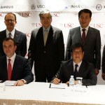 Standing: USC President C. L. Max Nikias, USC Trustee Y.H. Cho, Inha University President Choonbae Park, Korea Aerospace University President Junku Yuh; seated: Yannis C. Yortsos, dean of the USC Viterbi School of Engineering; Jean-Francois Laval, executive vice president of Asia for Airbus; Woosug Cho, Inha University dean of research; Yongkyu Song, Korean Aeronautics University dean