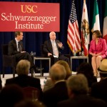 Sens. Michael Bennet and John McClain  discuss immigration reform legislation with moderator Ann Compton. (USC Photo/Tom Queally)