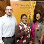 Felipe Camacho, Lauren Walker and Xiomara Moncada meet at a USC reception. (Photo/Courtesy of USC Annenberg)