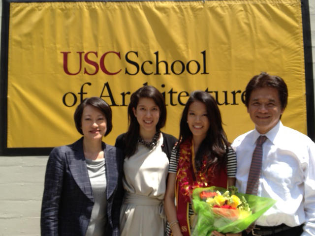 Adele, Emily, Jessica and Stan Chang at the USC School of Architecture commencement ceremony (Photo/Sandra Chen Lau)