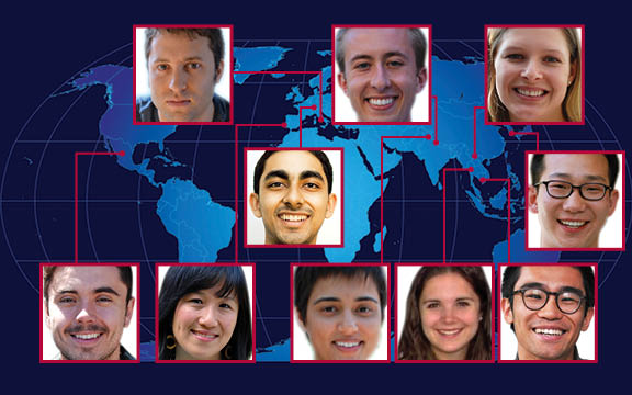 The award will take USC's Fulbright scholars to India, Italy, Laos, Mexico, Portugal, South Korea, Switzerland, Thailand and Vietnam. (Graphic/Letty Avila)