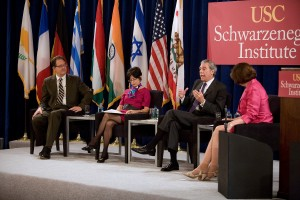 USC Price Professor Dowell Myers, USC Dornsife Professor Pierrette Hondagneu-Sotelo, former U.S. Secretary of Commerce Carlos Gutierrez and moderator Ann Compton of ABC News (USC Photo/Tom Queally)