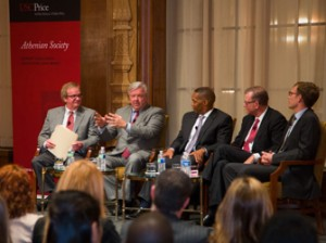 """Moderator Roger Vincent and """"The Revitalization of Downtown Los Angeles"""" panelists Christopher Martin, Derrick Moore, Hal Bastian and Tanner Blackman (USC Photo/Tom Queally)"""