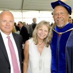 Hans and Jayne Hufschmid with Dean Ernest J. Wilson III at USC Annenberg's commencement ceremony in May (Photo/Courtesy of USC Annenberg)