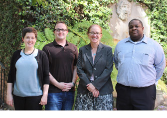 Associate Professor Juliet Musso, third from left, with online MPA students Rachel Madewell, Eric Lardy and Sean Hallman