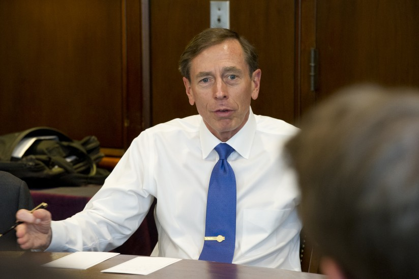 Retired Gen. David Petraeus takes part in a roundtable discussion at the Brookings Institution. (Photo/Pam Risdon)