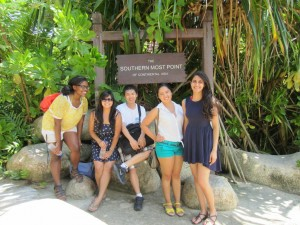 Alexis Montgomery, Jennifer Mo, Jason Tse, Kimberly Hernandez and Dhwani Thapar pose on Singapore's popular island resort of Sentosa.
