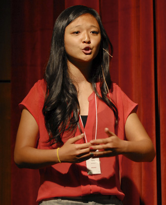 Junior Julia Wang shares her passion for labor organizing at the TEDx Trousdale event. (USC Photo/Lillian Insalata)